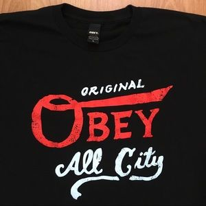 Obey Original All City Spell Out T-Shirt Large